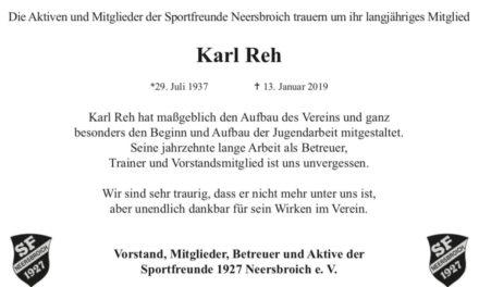 Die Sportfreunde Neersbroich trauern um Karl Reh